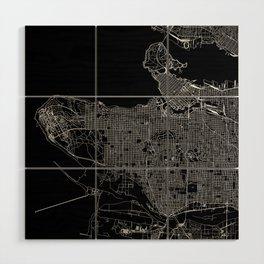 Vancouver Black Map Wood Wall Art