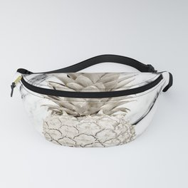 Pineapple Marble White Gold Painted Pineapple on Black and White Marble Fanny Pack