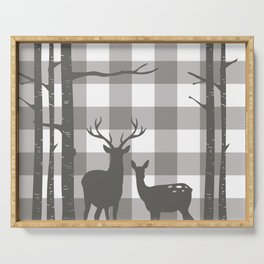 Deer & Birch Grey Plaid Serving Tray