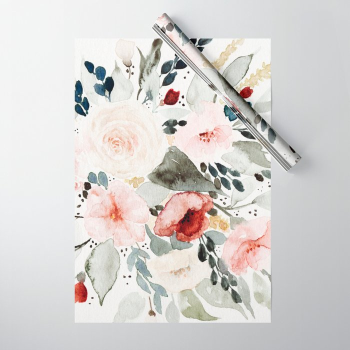 Loose Watercolor Bouquet Wrapping Paper By Shealeenlouise