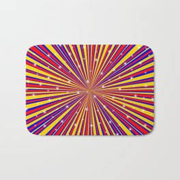 Red Yellow Blue And Rays Background With Stars Bath Mat