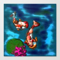 koi fish Canvas Prints featuring KOI FISH by aztosaha