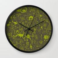 doodle Wall Clocks featuring Doodle by Sarinya  Withaya