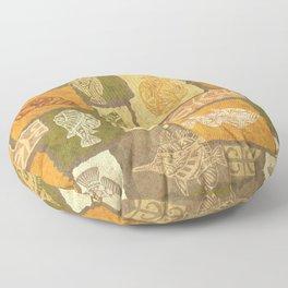 Vintage Hawaiian Tribal Petroglyph Fish Floor Pillow