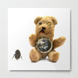 Tiny Mentalembellisher Vintage Teddy Bear with His Pet Bee & Some Fiddlebittery Metal Print