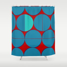 Blue Half Circle With Red Background - Illusion Art Shower Curtain