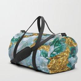 WHITE QUARTZ  CRYSTALS & BLUE-GREEN AQUAMARINE Duffle Bag