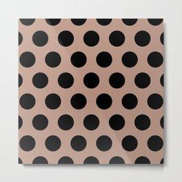 Mid Century Modern Polka Dots 546 Black and Beige Metal Print