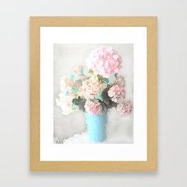 Shabby Chic Hydrangea Flowers Pink White Aqua Blue Framed Art Print