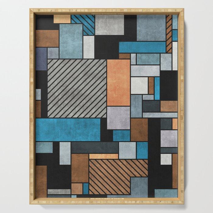 Random Concrete Pattern - Blue, Grey, Brown Serving Tray