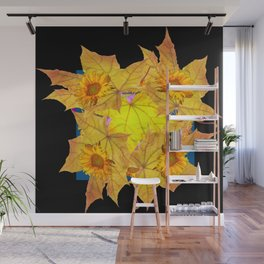 Golden Yellow Fall Leaves Sunflower Black Design Pattern Art Wall Mural