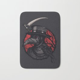 Plaguedoctor Black and Red Illustration Bath Mat