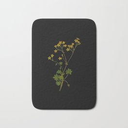 Cineraria Geifolia Mary Delany Delicate Paper Flower Collage Black Background Floral Botanical Bath Mat