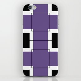 White Hairline Squares in Purple iPhone Skin