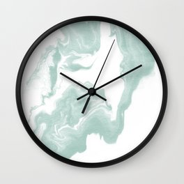 Moki - spilled ink japanese printmaking marble paper mint pastel watercolor painting abstract  Wall Clock