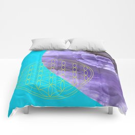 Mystical Flower of Life Amethyst #society6 Comforters