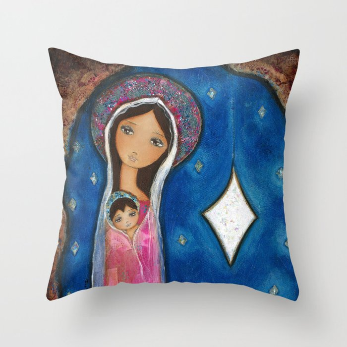 Nativity Star III by Flor Larios Throw Pillow