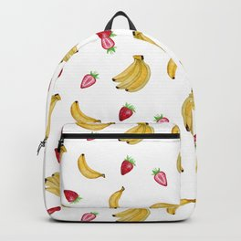 Summer yellow pink red banana strawberry tropical fruit Backpack