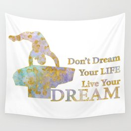 Live Your Dream Gymnastics Design in Watercolor and Gold Wall Tapestry