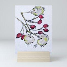 Winter Rose Hips Mini Art Print