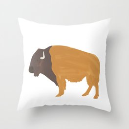 Buffalo Painted Digital Art Throw Pillow