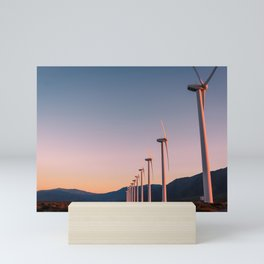California Desert Windmills at Sunset with Mountain Vistas Mini Art Print