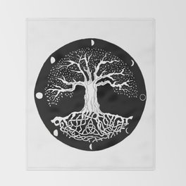 black and white tree of life with moon phases and celtic trinity knot Throw Blanket
