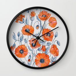 Poppies botanical art Wall Clock