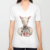 silence of the lambs V-neck T-shirts featuring Silence of the Lambs by Marie Toh
