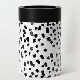 Nadia - Black and White, Animal Print, Dalmatian Spot, Spots, Dots, BW Can Cooler