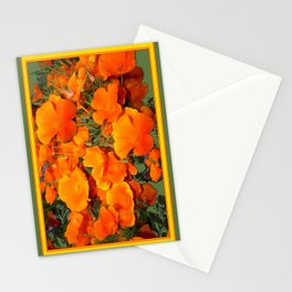 Sage Green Art Golden California Poppies Design Stationery Cards