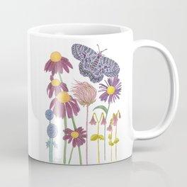 Spring Awakening - Purple Butterfly and Wildflowers Coffee Mug