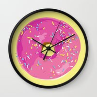 donut Wall Clocks featuring donut by Britt Mansouri
