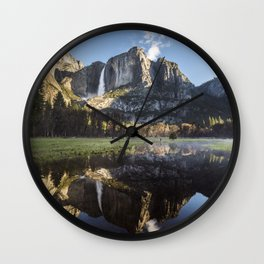 Sunrise over Yosemite Falls Wall Clock