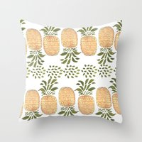 pineapples Throw Pillows featuring Pineapples by Bouffants and Broken Hearts