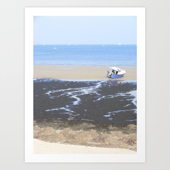 Beach & Boat Art Print
