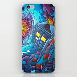 Tardis stained glass style iPhone Skin
