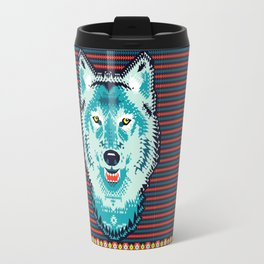 Geometric Wolf  Travel Mug