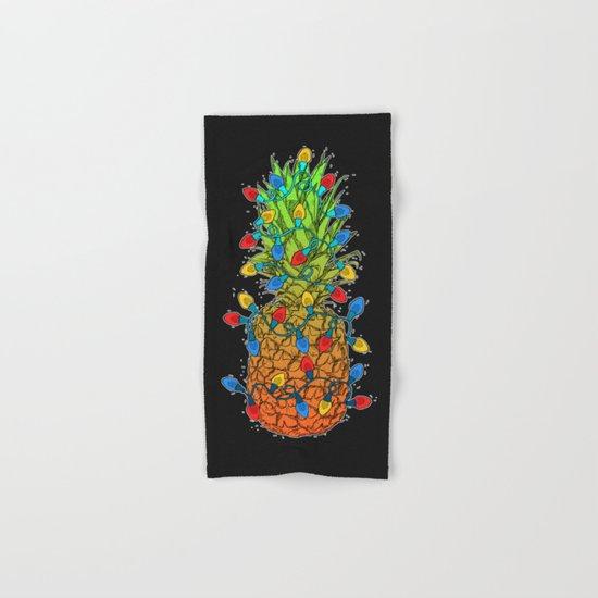 Pineapple Christmas Lights II Hand & Bath Towel