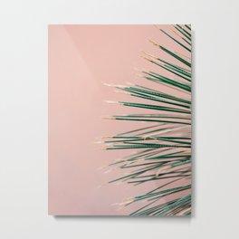 Green on Coral | Botanical modern photography print | Tropical vibe art Metal Print