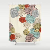 peonies Shower Curtains featuring Peonies by Catalina Villegas