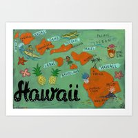 hawaii Art Prints featuring HAWAII by Christiane Engel