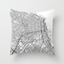 Buenos Aires Map White Throw Pillow