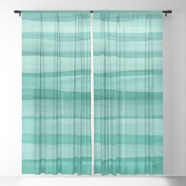 Green Watercolor Lines Pattern Sheer Curtain