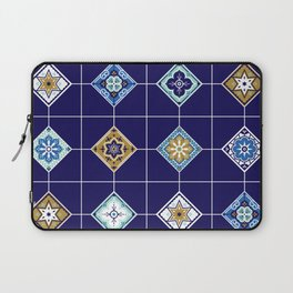 Talavera Mexican Tile – Navy & Bronze Palette Laptop Sleeve