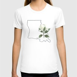 louisiana // watercolor magnolia state flower map T-shirt