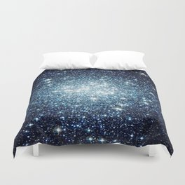 Blue Sparkle Galaxy  Duvet Cover