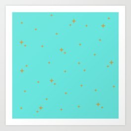 Turquoise Starburst Pattern Art Print