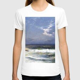 Moonlit Beach Seascape No. 1 landscape painting by Thomas Moran T-shirt