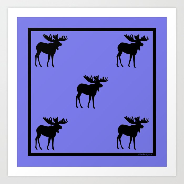 Bull Moose Silhouette on Periwinkle Art Print